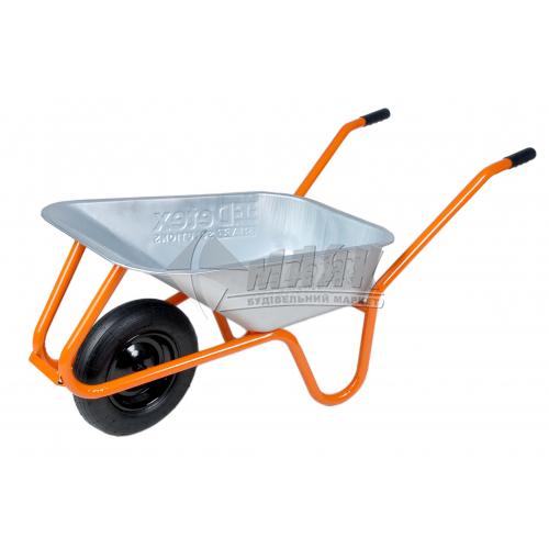 Тачка будівельно-садова DETEX одноколісна посилена 85 л поліуретанове колесо