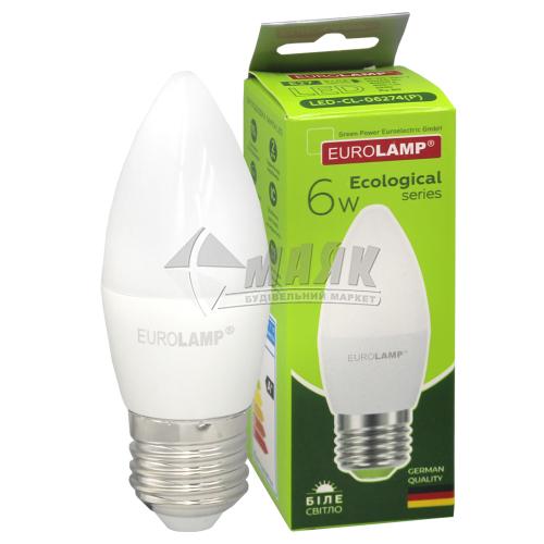 Лампа світлодіодна свічка EUROLAMP 6Вт Е27 CL 4000°К (LED-CL-06274(P))