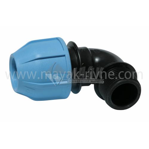 """Коліно для водопровідної труби VS Plast 25 мм 1"""" зовнішня різьба"""