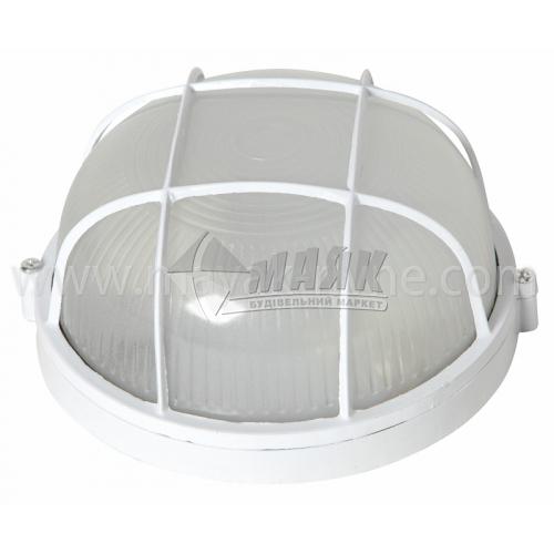 Світильник настінно-стельовий Lumen/Екострум 1051 60Вт IP54 Е27 скляний круглий з решіткою білий