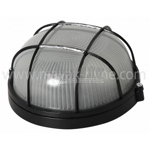 Світильник настінно-стельовий Lumen/Екострум 1052 60Вт IP54 Е27 скляний круглий з решіткою чорний