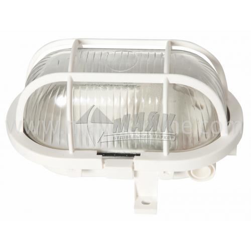 Світильник настінно-стельовий Lumen/Екострум МС 1151 60Вт IP54 Е27 скляний овальний з решіткою білий