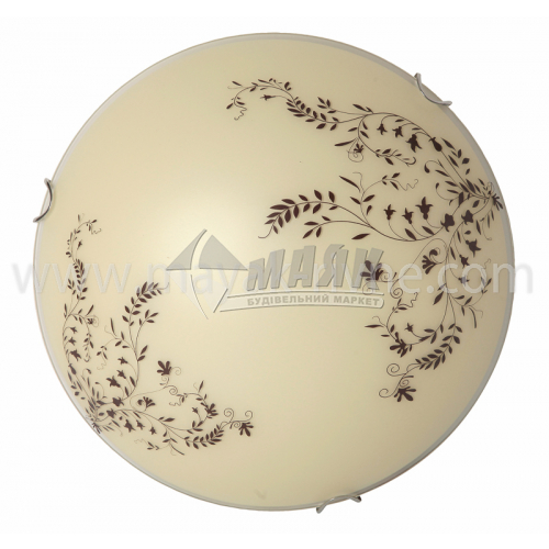 Світильник настінно-стельовий Лаура 24160 2×60Вт IP20 Е27 300 мм круглий скляний декоративний бежевий з візерунком
