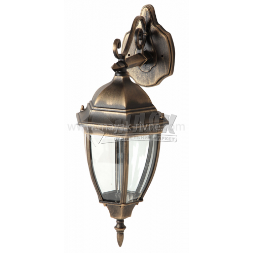 Світильник вуличний Lusterlicht Dallas II QMT 1277S 100Вт настінний старе золото