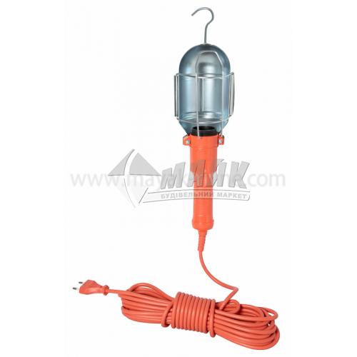 Світильник переносний ІЕК УП-1Р 60Вт IP20 Е27 пластиковий овальний з решіткою помаранчевий