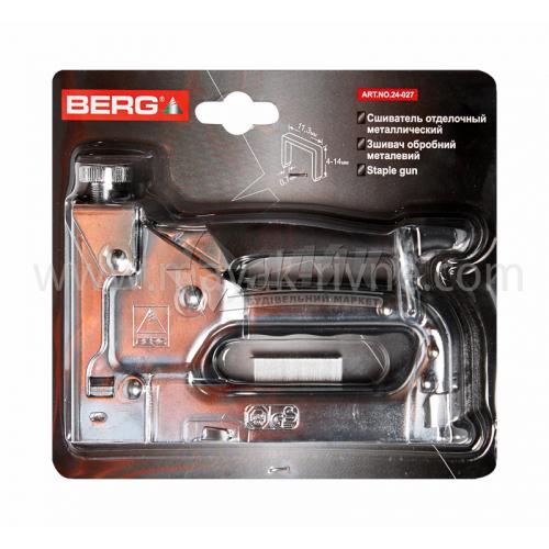 Степлер будівельний ручний BERG під скобу 4-14 мм хромований
