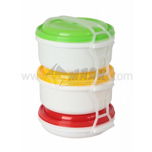 Набір харчових контейнерів 3 шт (2 шт х1 л, 1 шт х0,5 л) пластикових з кришками