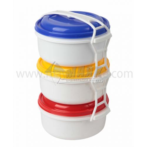 Набір харчових контейнерів 3 шт (3 шт х1 л) пластикових з кришками