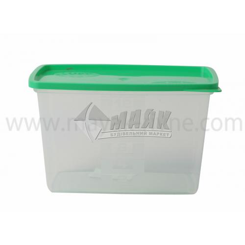 Контейнер харчовий квадратний 1,2 л пластиковий з кришкою