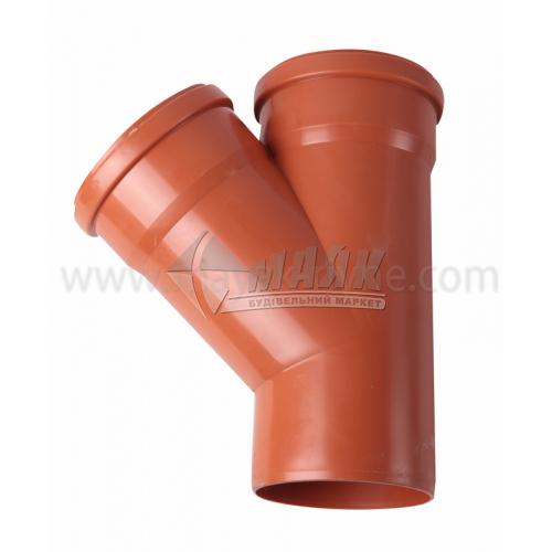 Трійник ПВХ зовнішня каналізація Інсталпласт 45° 160×160 мм
