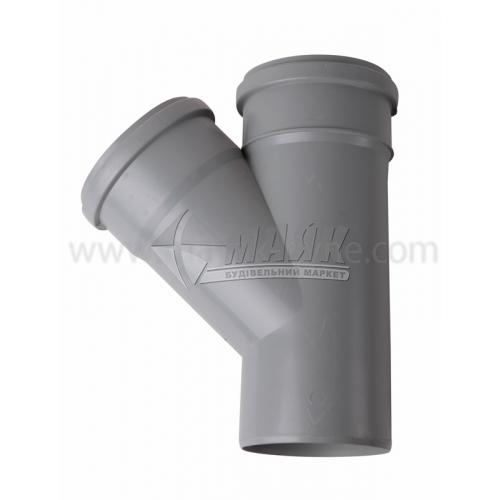 Трійник ПВХ внутрішня каналізація Інсталпласт 45° 110×110 мм сірий