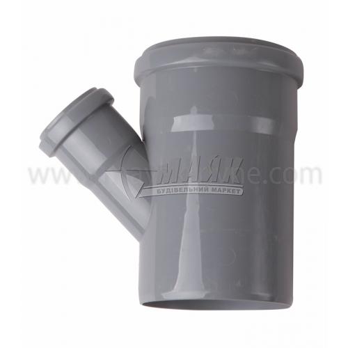 Трійник ПВХ внутрішня каналізація Інсталпласт 45° 110×50 мм сірий