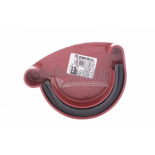 Заглушка ринви пластикова ліва L Profil 130 мм 130/100 червона