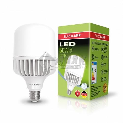 Лампа світлодіодна циліндр EUROLAMP 50Вт Е40 HP 6500°К (LED-HP-50406)