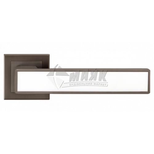 Ручки дверні на розетці LINDE A-2015 MA+white антрацит матовий з білою вставкою
