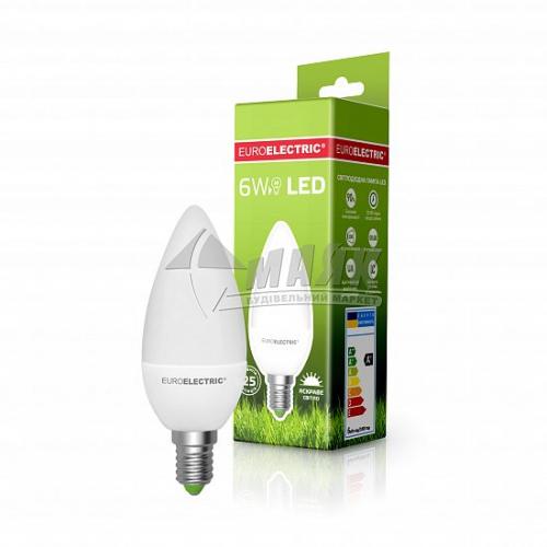 Лампа світлодіодна свічка EUROELECTRIC 6Вт Е14 CL 4000°К (LED-CL-06144(ЕЕ))