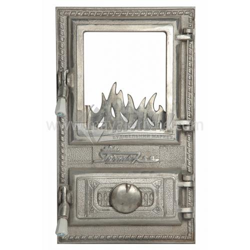 Дверцята спарені декоративні зі склом Полум'я 300×510 мм 13,0 кг