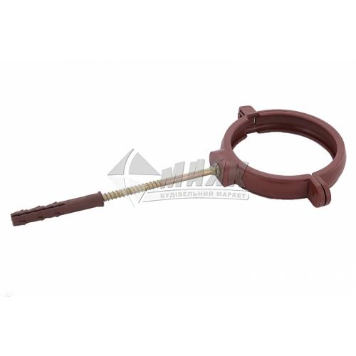 Хомут труби пластиковий Profil 100 мм 90/75 коричневий
