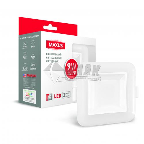 Світильник світлодіодний квадратний вбудований Maxus 9Вт 3000-4100°К SDL-09-S IP44 регульований білий
