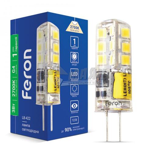 Лампа світлодіодна капсульна Feron 3Вт G4 2700°К 12В (LB-422), 25531