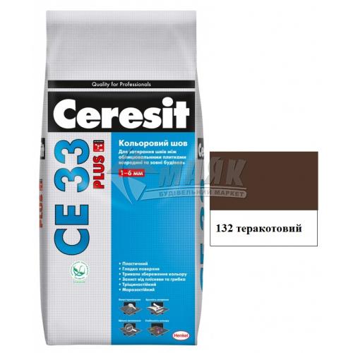 Фуга (затирка) Ceresit CE 33 Plus до 6 мм 2 кг 132 теракотовий