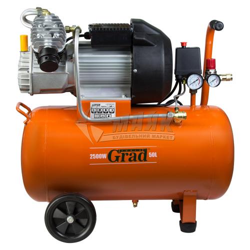 Компресор повітряний двоциліндровий Grad 2,5кВт 50 л 435 л/хв