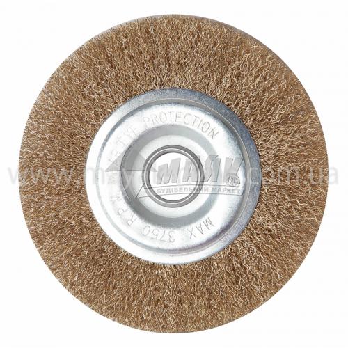 Щітка дротяна дискова 150 мм гофрований латунний дріт