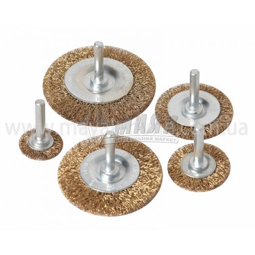 Набір щіток дротяних дискових SIGMA 25, 38, 50, 65, 75 мм з шпилькою гофрований латунний дріт 5 шт