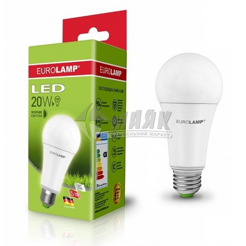 Лампа світлодіодна класична (груша) EUROLAMP 20Вт Е27 А75 4000°К (LED-А75-20274(P))