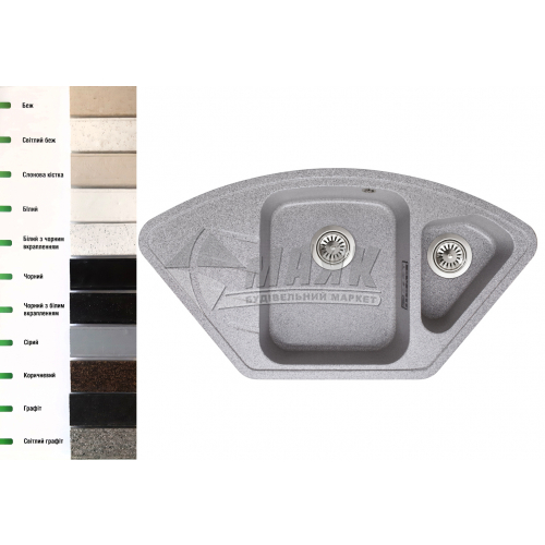 Мийка кухонна гранітна трапецієподібна Lavelli Бона з полицею 920×490 мм світлий графіт