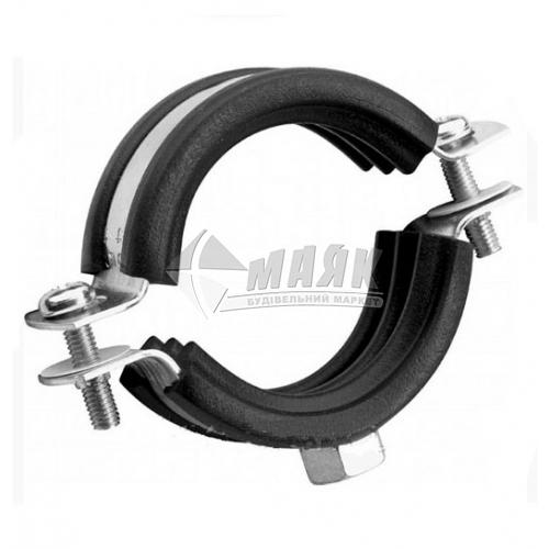 Хомут для труби 159-166 мм з гумовою прокладкою та різьбою 8-10 мм