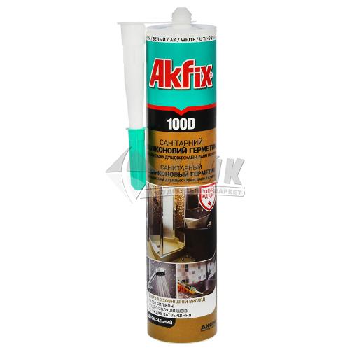 Герметик силіконовий санітарний Akfix 100D 280 мл білий