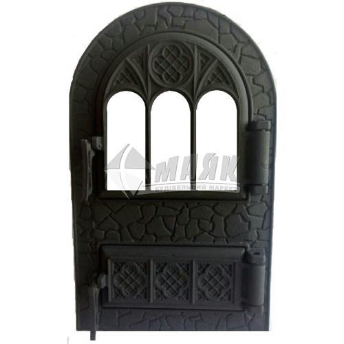 Дверцята спарені Булат ДС Микулин арочні з термосклом 530×330 мм 12,75 кг