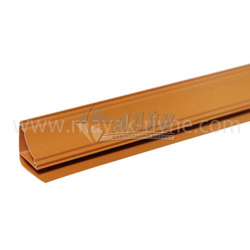 Профіль монтажний ПВХ стельовий плінтус Р-подібний 3 пог.м 8 мм темно-коричневий
