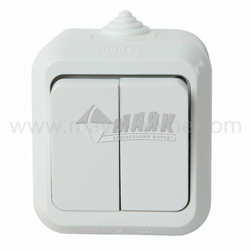Вимикач двоклавішний Makel IP44 зовнішній білий