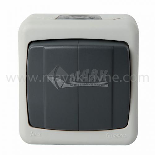 Вимикач двоклавішний Makel NEW IP44 зовнішній сірий