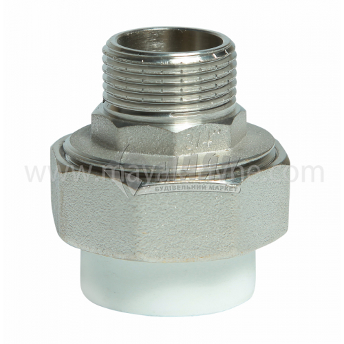 """З'єднувач поліпропіленовий роз'ємний VALTEC 25 мм х 3/4"""" зовнішня різьба білий"""