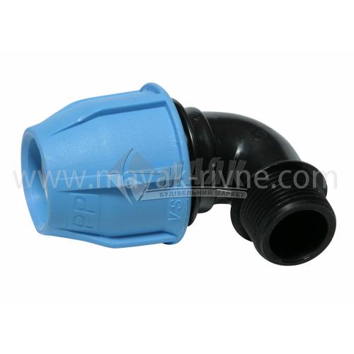 """Коліно для водопровідної труби VS Plast 32 мм 1"""" зовнішня різьба"""