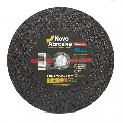 Диск абразивний відрізний по металу Novoabrasive Extreme A30S BF 230×1,9×22,23 мм
