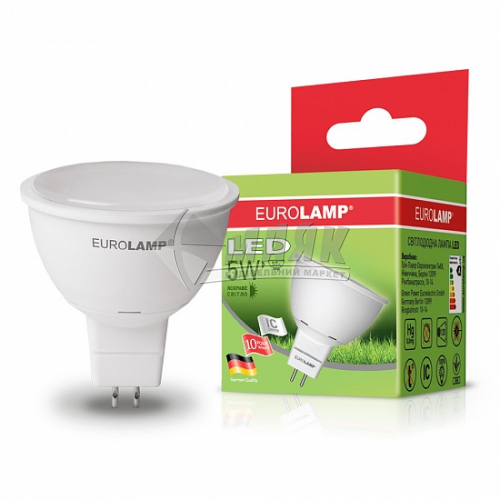 Лампа світлодіодна точкова EUROLAMP 5Вт GU5.3 MR16 4000°К (LED-SMD-05534(Р))