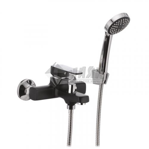 Змішувач для ванни MIXXUS MISSOURI 009 EURO (BLACK) з душовим комплектом одноважільний настінний короткий гусак чорний