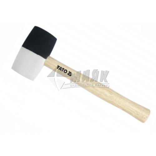 Киянка гумова YATO 55 мм 580 г круглий бойок дерев'яна ручка чорна/біла