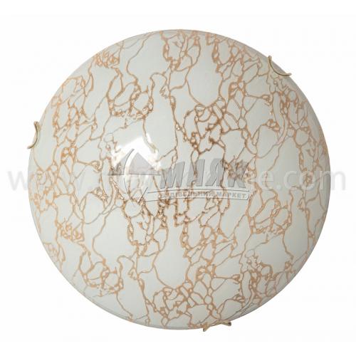 Світильник настінно-стельовий Модерн 24190 2×60Вт IP20 Е27 300 мм круглий скляний декоративний з візерунком золото