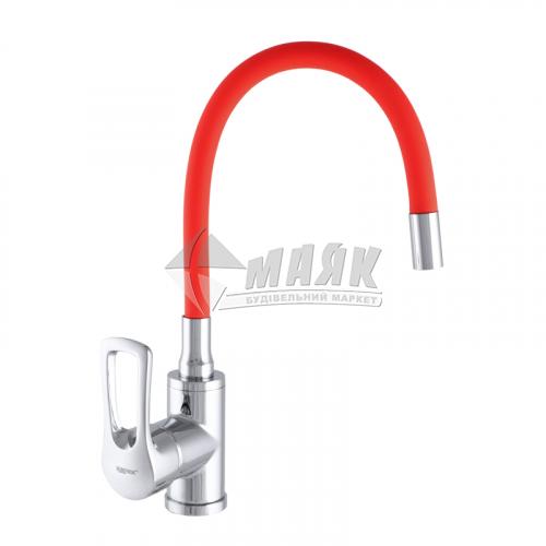 Змішувач для кухні ZERIX 1Р SAR 181 RED одноважільний настільний силіконовий гусак червоний