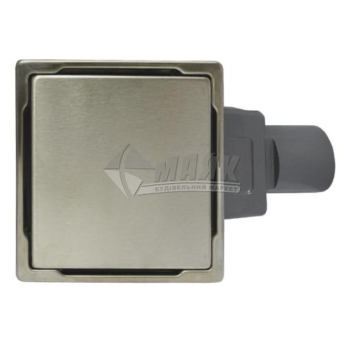 Трап для душу Valtemo Trendy INOX-S 100×100 мм боковий вивід 50 мм нержавіюча сталь