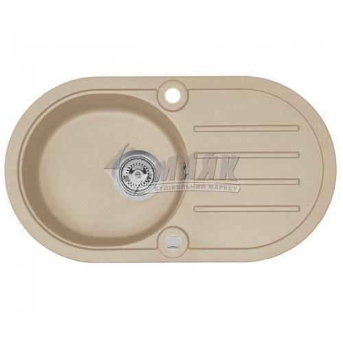 Мийка кухонна гранітна овальна AXIS COAST 30 з полицею + сифон 760×430 мм бежевий