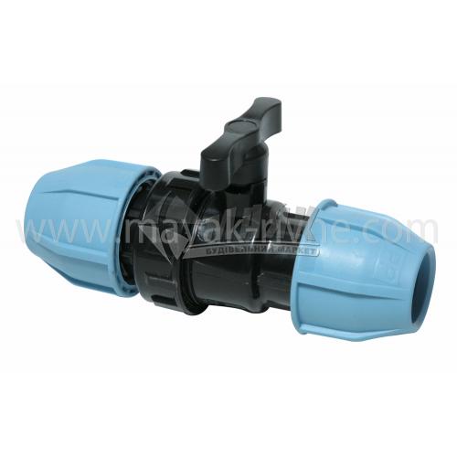 Кран кульовий для водопровідної труби VS Plast 32 мм
