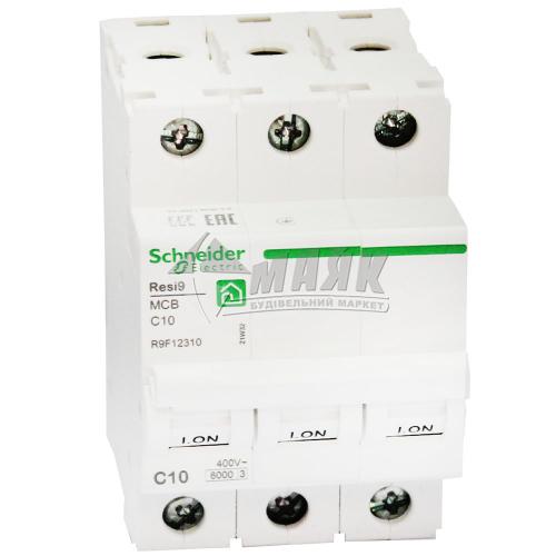 Вимикач автоматичний Schneider RESI9 3Р 10А 6кА С