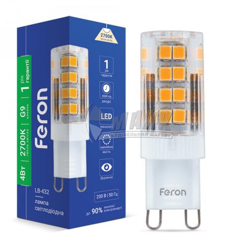 Лампа світлодіодна капсульна Feron 4Вт G9 2700°К 220В (LB-432) 25769