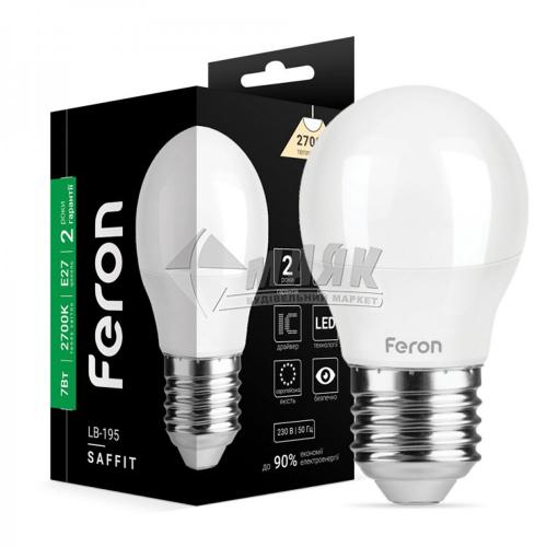 Лампа світлодіодна куля Feron 7Вт Е27 G45/Р45 2700°К (LB-195) 25811